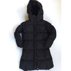 Lands End Girls Long Hooded Puffer Jacket Black 4
